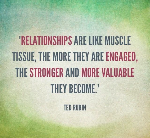 Muscle quote  Relationships are like muscle tissue, the more they are engaged, the stronger a