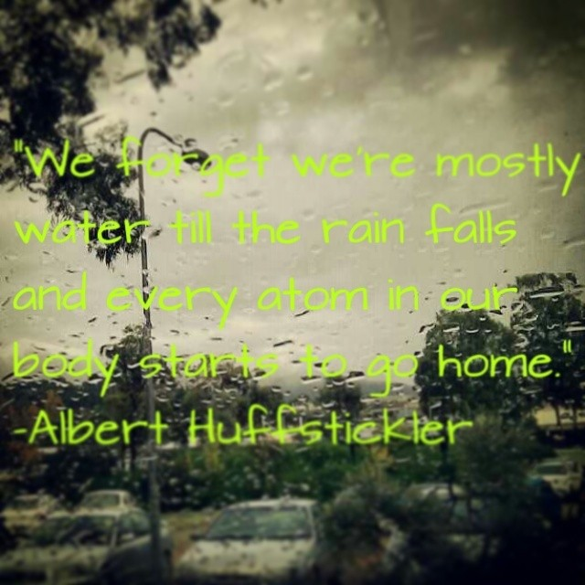 We forget we're mostly water till the rain falls and every atom in our body starts to go home. - Albert Huffstickler
