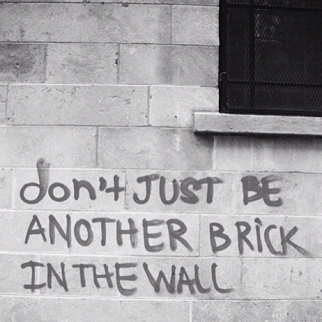 Occupy wall street quote Don't just be another brick in the wall