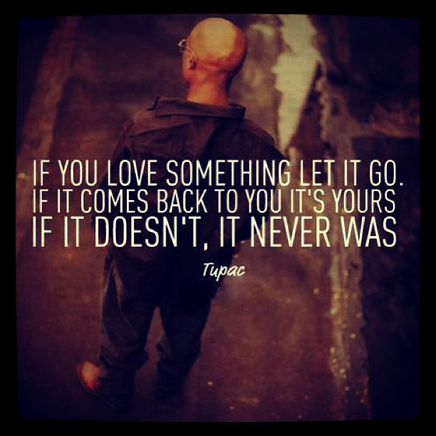 If you love something let it go. If it comes back to you it's yours. It it doesn't, it never was. - Tupac Shakur