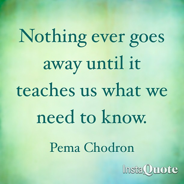 Lessons quote Nothing ever goes away until it teaches us what we need to know.