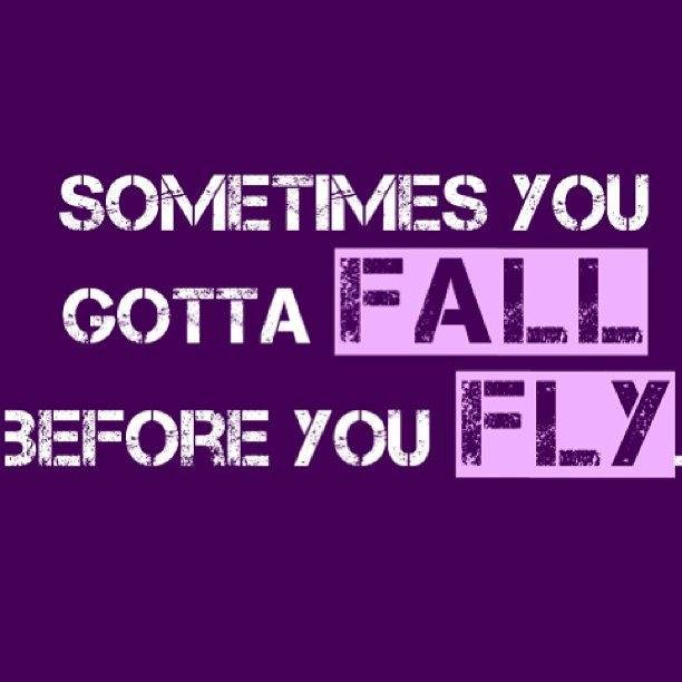 Gotta quote Sometimes you gotta fall before you fly