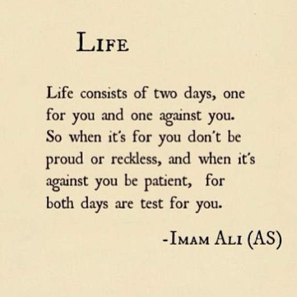 Test scores quote Life consists of two days, one for you and one against you. So when it's for you