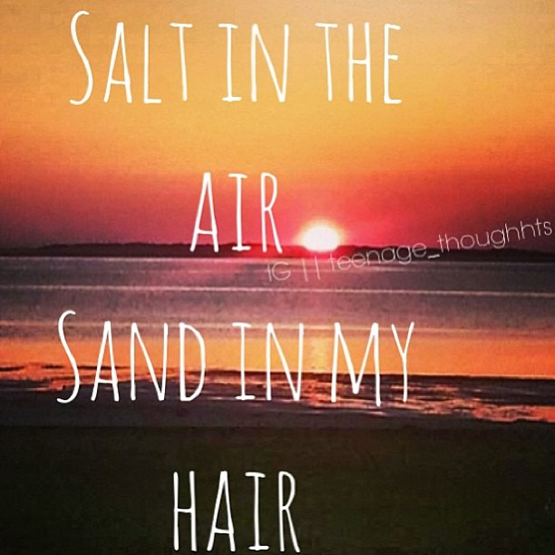 Sands quote Salt in the air, sand in my hair