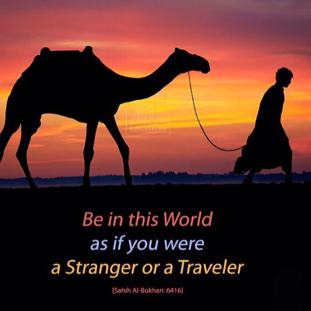 Stranger quote Be in this world as if you were a stranger or a traveler.