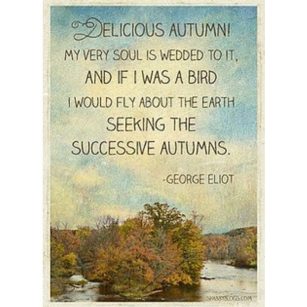 Delicious autumn! My very soul is wedded to it. And if I was a bird I would fly about the earth seeking the successive autumns. - George Eliot