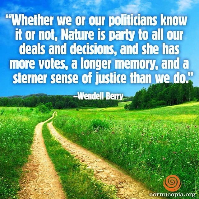 Conservator quote Whether we or our politicians know it or not, Nature is party to all our deals a