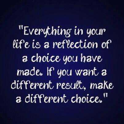 Reflection quote Everything in your life is a reflection of a choice you have made, if you want a