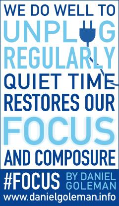 Daniel Goleman quote We do well to unplug regularly. Quiet time restores focus and composure.