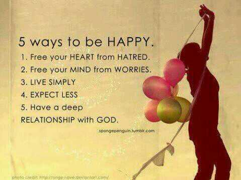 Sad deep quote 5 ways to be happy.1. Free your Heart from Hatred.2. Free your Mind from Worries