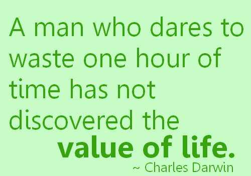 Wasted life quote A man who dares to waste one hour of time has not discovered the value of life.