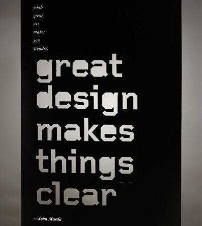 Designed quote While great art makes you wonder, great design makes things clear.