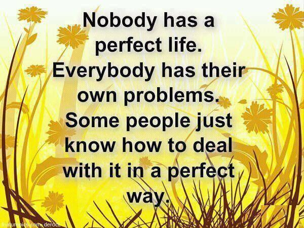 Dealing with it quote Nobody has a perfect life. Everybody has their own problems. Some people just kn