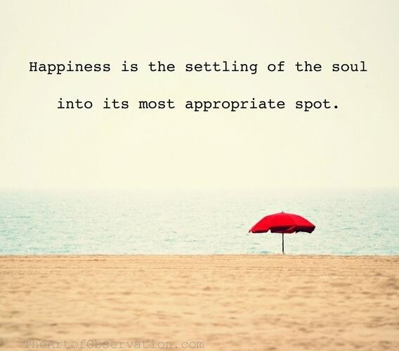 Settling down quote Happiness is the settling of the soul into its most appropriate spot.