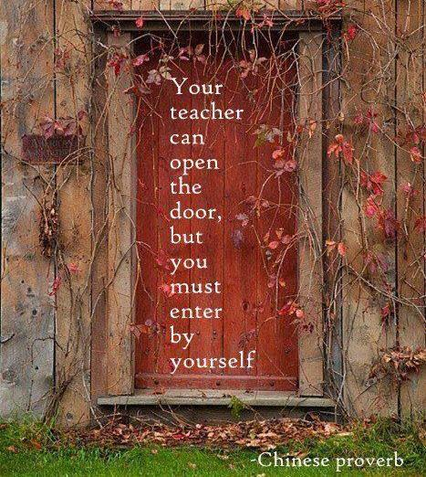 Your teacher can open the door, but you must enter by yourself - Chinese Proverbs