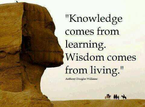You live and you learn quote Knowledge comes from learning. Wisdom comes from living.