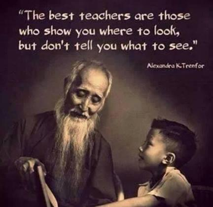 Looks quote The best teachers are those who show you where to look, but don't tell you what