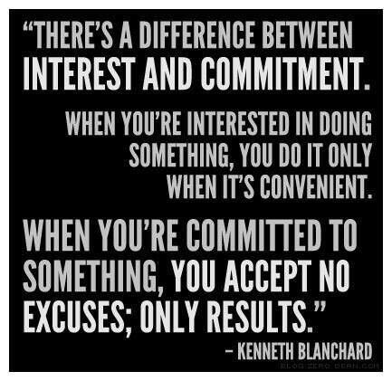 Interested quote There's a difference between interest and commitment. When you're interested in