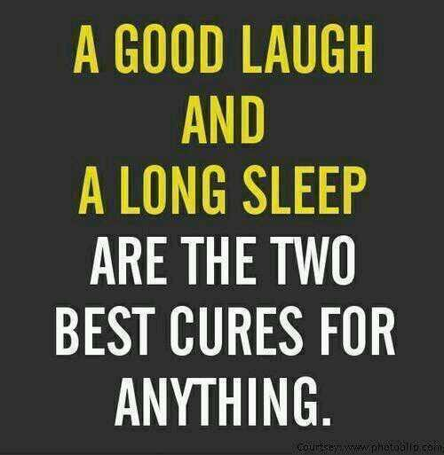Cure quote A good laugh and a long sleep are the two best cures for anything.