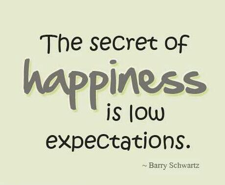 Low quote The secret of happiness is low expectations.