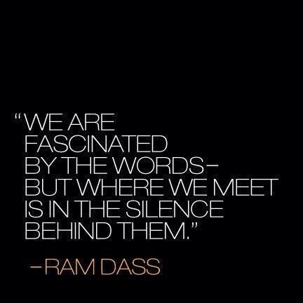 Ram Dass quote We are fascinated by the words, but where we meet is in the silence behind them