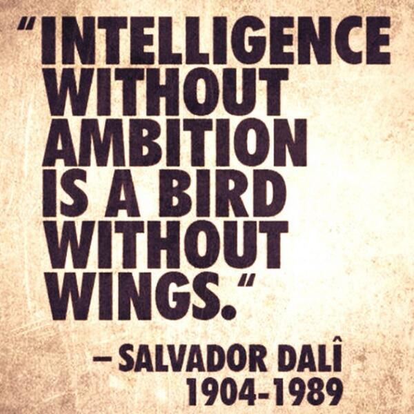 Theodore Roosevelt Intelligence Without Ambition Is A Bird Without Wings.    Salvador Dali