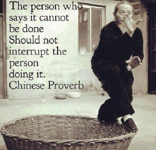 The person who says it cannot be done should not interrupt the person doing it. - Chinese Proverbs