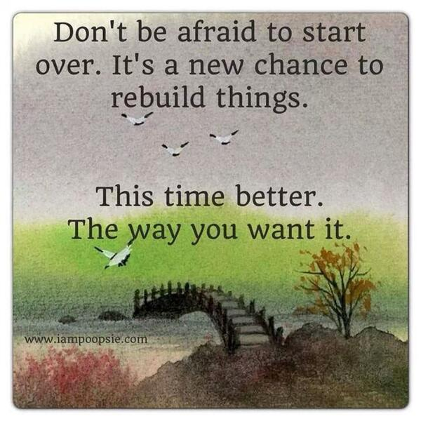 Rebuilding quote Don't be afraid to start over. It's a new chance to rebuild things. This time be