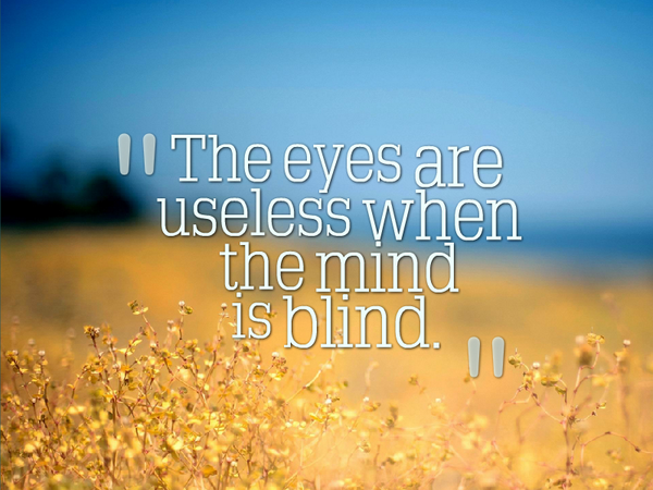 Blindness quote The eyes are useless when the mind is blind.