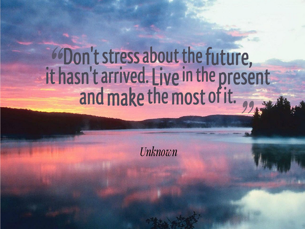 Arriving quote Dont stress about the future, it hasn't arrived. Live in the present and make th