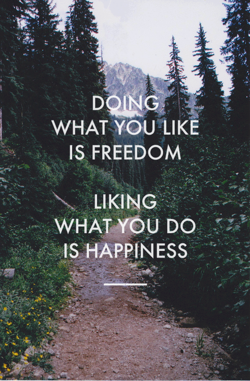 Frank Tyger quote Doing what you like is freedom. Liking what you do is happiness.