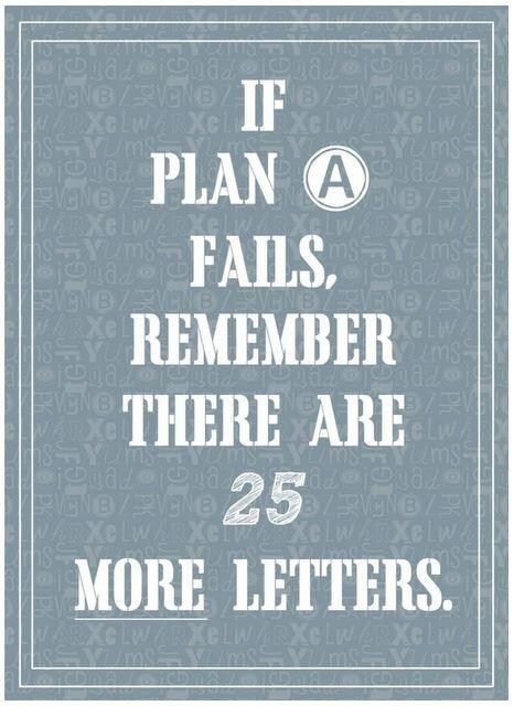 Planning quote If plan A fails, remember there are 25 more letters.