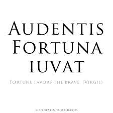 Favor quote Audentis fortuna iuvat. / Fortune favors the brave.