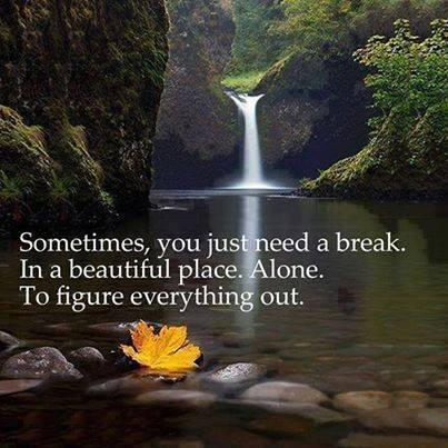 Figured quote Sometimes, you just need a break. In a beautiful place. Alone. To figure everyth