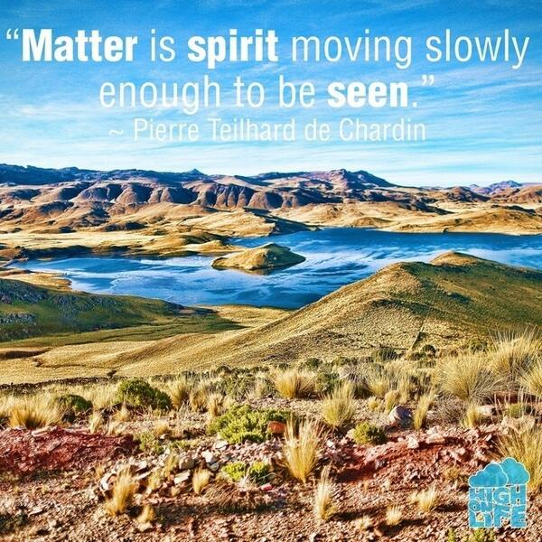 Pierre Teilhard de Chardin quote Matter is spirit moving slowly enough to be seen.