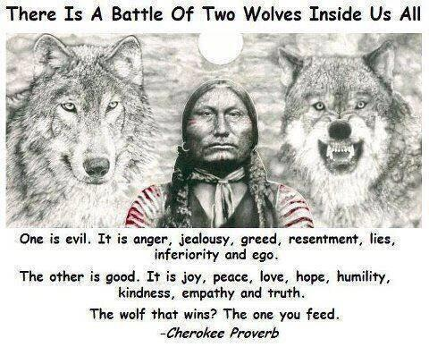 Hopeful quote There is a battle of two wolves inside us all. One is evil. It is anger, jealous