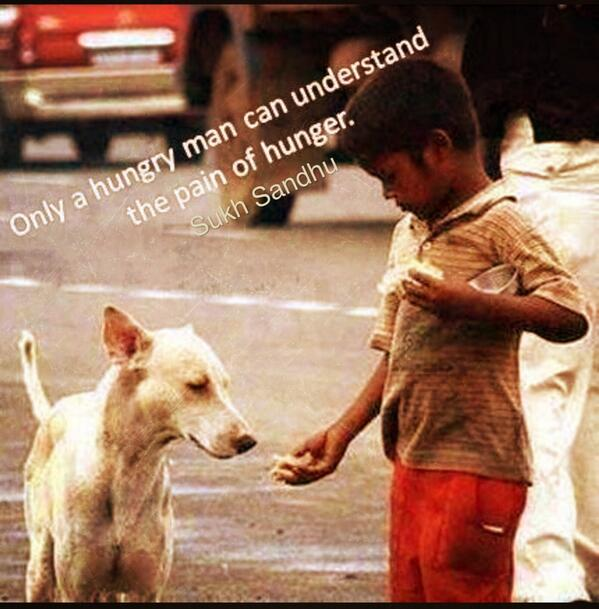 Only a hungry man can understand the pain of hunger. - Sukh Sandhu