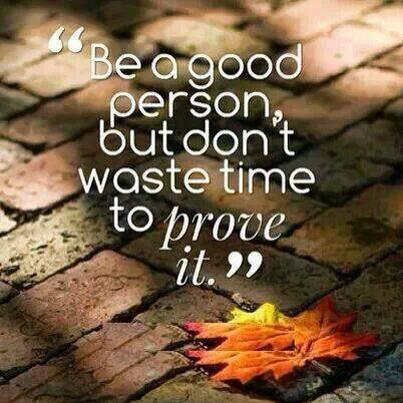 Don't waste your time quote Be a good person, but don't waste time to prove it.