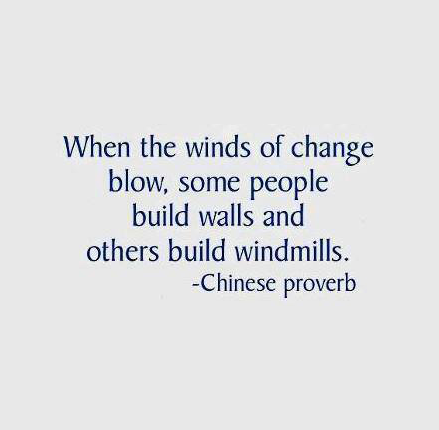 Blow quote When the winds of change blow, some people build walls and others build windmill