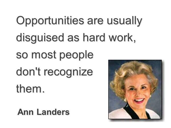 Disguising quote Opportunities are usually disguised as hard work, so most people don't recognize