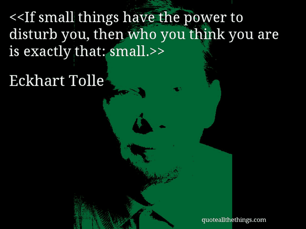 Exactness quote If small things have the power to disturb you, then who you think you are is exa