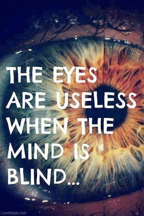 Blindness quote The eyes are useless when the mind is blind...