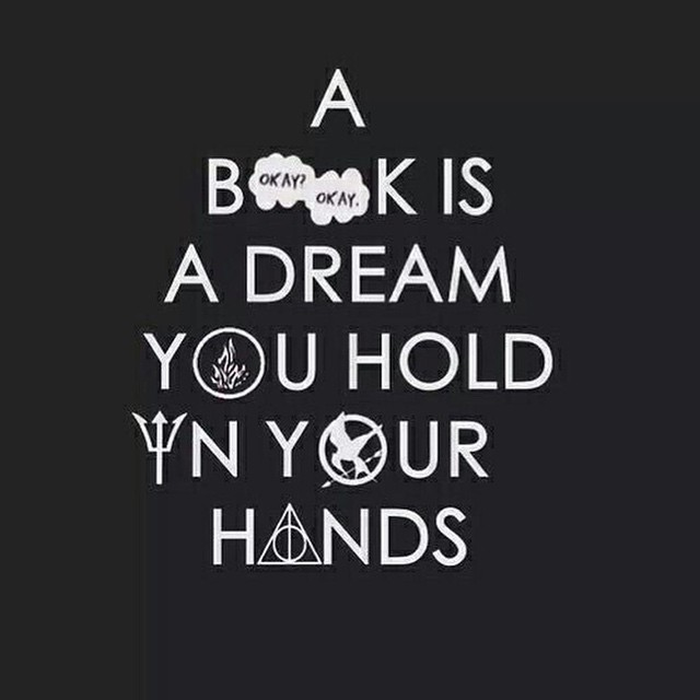 Holding hands quote A book is a dream you hold in your hands.