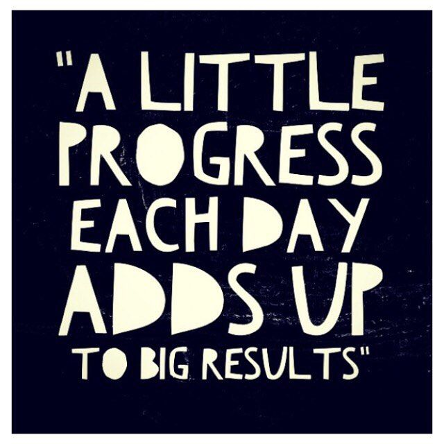 These days quote A little progress each day adds up to bg results.