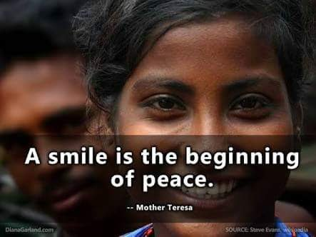 Emotions quote A smile is the beginning of peace.