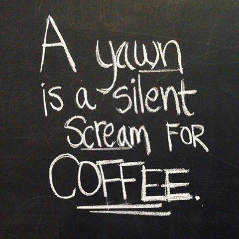 Screamingly quote A yawn is a silent scream for coffee.
