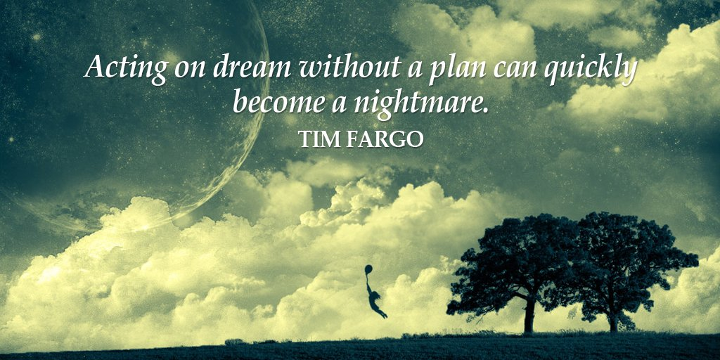 Acting on dream without a plan can quickly become a nightmare. - Tim Fargo