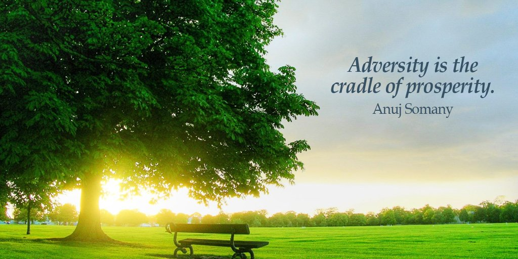 Adversity is the cradle of prosperity. - Source Unknown