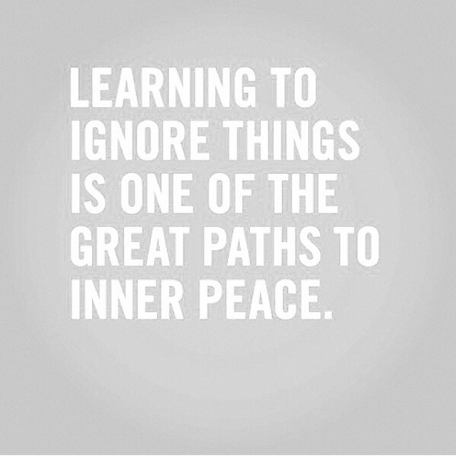 Inner peace quote Learning to ignore things is one of the great paths to inner peace