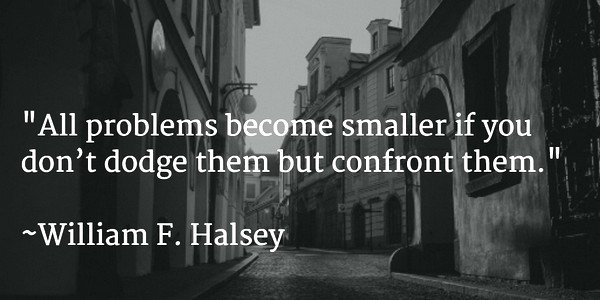 Confront quote All problems become smaller if you don't dodge them but confront them.